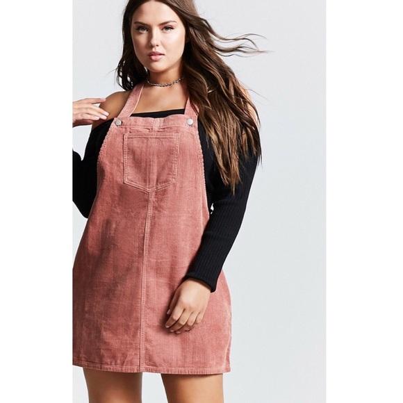 68ea9efd08 Forever 21 Dresses & Skirts - Forever 21 + Pink corduroy overall dress